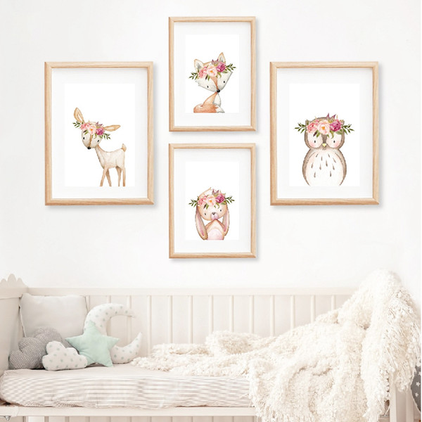 2019 Pink Peonies Woodland Animals Nursery Wall Art Canvas Painting  Pictures Boho Deer Owl Posters Print Baby Room Decor From Linita, $34.06 |  ...