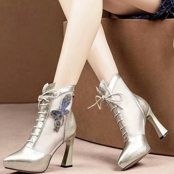 Donna scava fuori stivaletti estivi in mesh alla moda donna romana tacchi alti grosso signora ragazze moda Martin sandali stivali scarpe