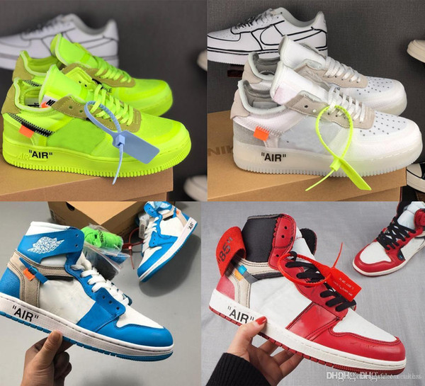 new off w white air forcè forcing 1 low force one 1 virgil volt ao4606 sneakers running shoes max presto air jòrdan 1 unc basketball shoe