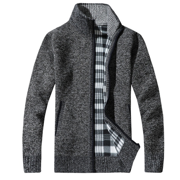 2017 Fashion Mens Wool Cardigan Sweaters Men'S Thick Stand Collar Pullover Korean Full Sleeves Slim Solid Mens Sweaters 3XL