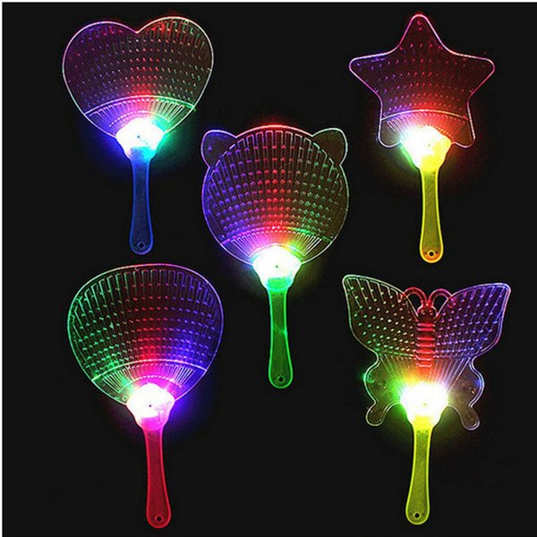 LED Colorful Plastic Flashing Hand Fan Night Glowing Light Fan Light-up Kids Toys Party Decoration Dance Performance