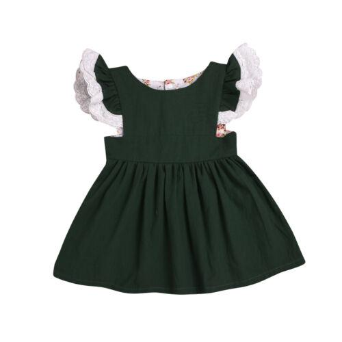 Newborn Infant Baby Girls Summer Solid Color Ruffle Princess Party Dress Outfits