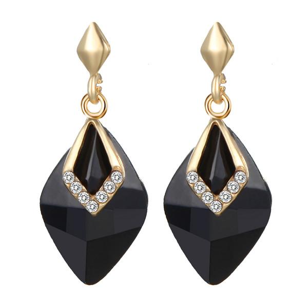 2019 Vintage Pendant Earrings Black Color Rhombus Drop Earrings Geometric Dangle For Women Jewelry