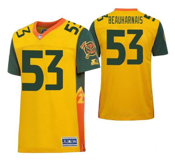 2019 NEW MEN AAF Arizona Hotshots #53 Steve Beauharnais Yellow Football Game Jersey SIZE S-4XL