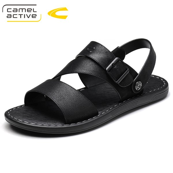 Camel Active Brand Genuine Leather Summer Soft Male Sandals Shoes For Men Breathable Light Beach Casual Quality Walking Sandals
