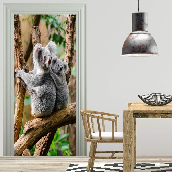 Free shipping DIY Door Sticker Koala Bear Animal door decals decorations for Bedroom Living Room wallpapers Decal home accessories