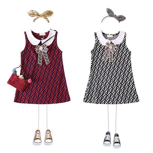FF Girls Princess Sleeveless Doll Lapel Dresses Full Letters Kids Designer Dress Luxury Vest Shirt Skirt Bowknot One Piece Dresses B6201