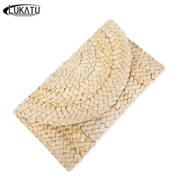LUKATU New 2018 Women Handmade Straw Bag Casual Handbag Summer Female Clutch Bag Corn Peel Woven Beach Big Wallets bolsas #43921