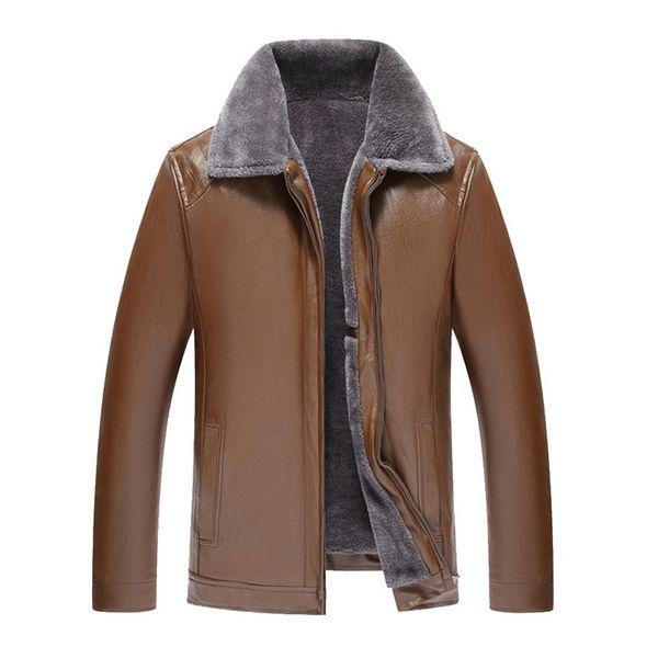 MoneRffi 2019 Мужская кожаная куртка с меховым воротником Мужская кожаная куртка Застежка-молния на мотоцикле