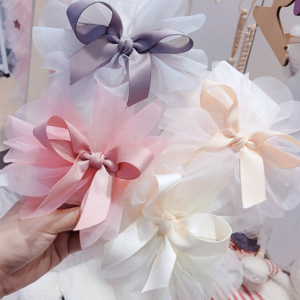 Flower girls hair clip boutique kids stereo lace flower Bows hairpins Girls princess barrettes children's day party hair accessories F7448