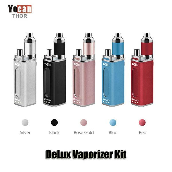 Authentic Yocan DeLux Kit 1500mAh Power Bank Battery 450mAh Mini Box Mod Wax Oil Atomizer 2 In 1 Vaporizer Kit Genuine