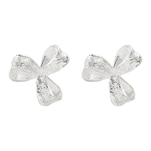 Silver frosted petal ear studs with ear cavity temperament Earrings Korean simple personality creative Earrings