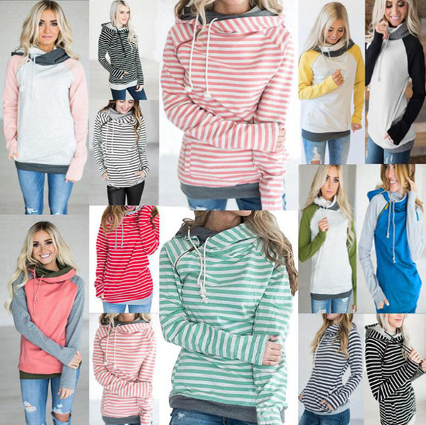 best selling Women Pocket Patchwork Hoodie 16 Styles Autumn Winter Sweatshirt Hooded Long Sleeve Striped Pullovers Tops 10pcs LJJO7132