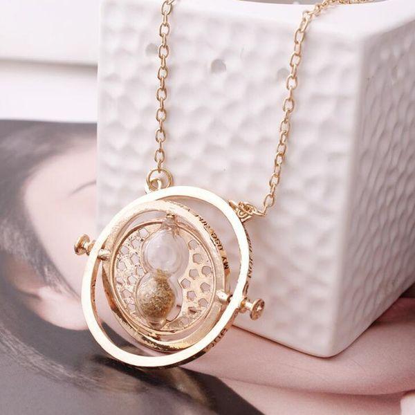 Venta caliente Harry time turner Potter collar reloj de arena colgante de la vendimia Hermione Granger para las mujeres señora niña al por mayor C18122501