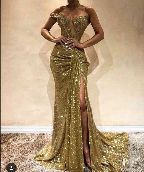 Mousseux d'or Sequin sirène robes de bal épaule sexy fendus Longueur sol Off Party longue soirée Robes formelles