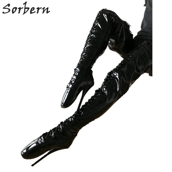 Sorbern Sexy Fetish High Heel Boots Unisex Crotch Ballet Stiletto Custom Order Black Patent Boots 18cm Plus Size Designer Lace-Up Shoes