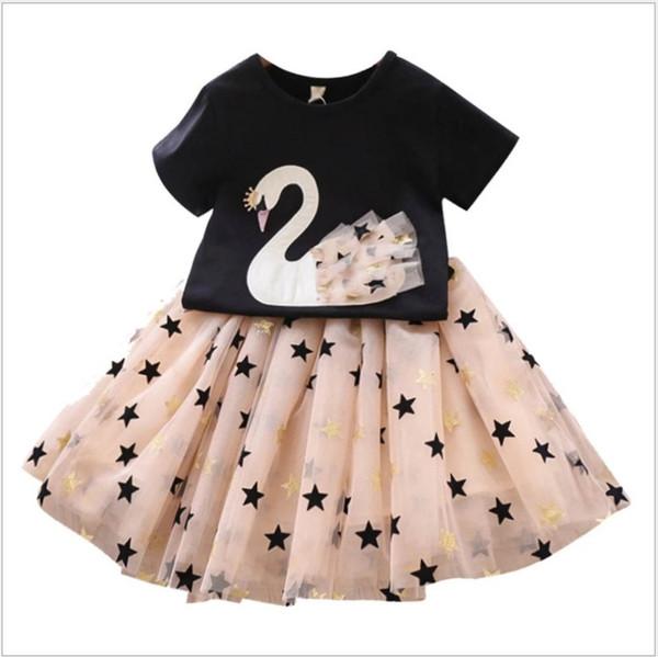 2019 Yeni Yaz Güzel Büyük Kızlar Giyim Setleri Kısa Kollu Kuğu T-Shirt + Yıldız Tutu Etekler 2 adet Set Kız Suit Çocuk Kıyafetleri Çocuk Giysileri