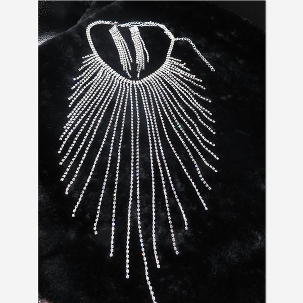 Weddomh Bridal için Himstory Yeni Avrupa Uzun Pençe Zincir Püskül kolye Ve Küpe Tablosu Kristal Jelery Aksesuarları