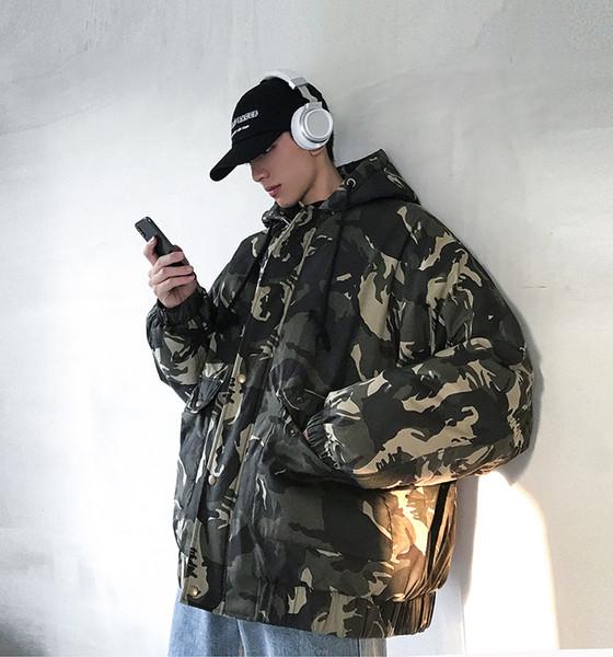 Von Camouflage Koreanische 2018 2xl Lose Großhandel Baumwolle Winter Armee Uniform Jacke Männer Camouflage Jacke Trend M Dicke Kapuze Grün Neue H2b9IeWEDY