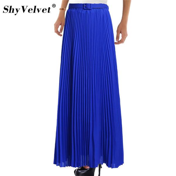 Elegant Summer 2018 Chiffon Women Long Skirts Womens High Waist Pleated Tulle Tutu Maxi Skirt Bohemian Solid 10 Colors Falda J190427