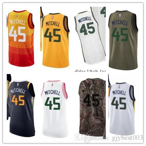 best website fd0e6 74eb7 2019 Custom Best 2018 Basketball Wear Men'S Utah Jazz#45 Mitchell Yellow  Jersey City Edition Basketball Jerseys From Gjybest005, $18.1 | DHgate.Com