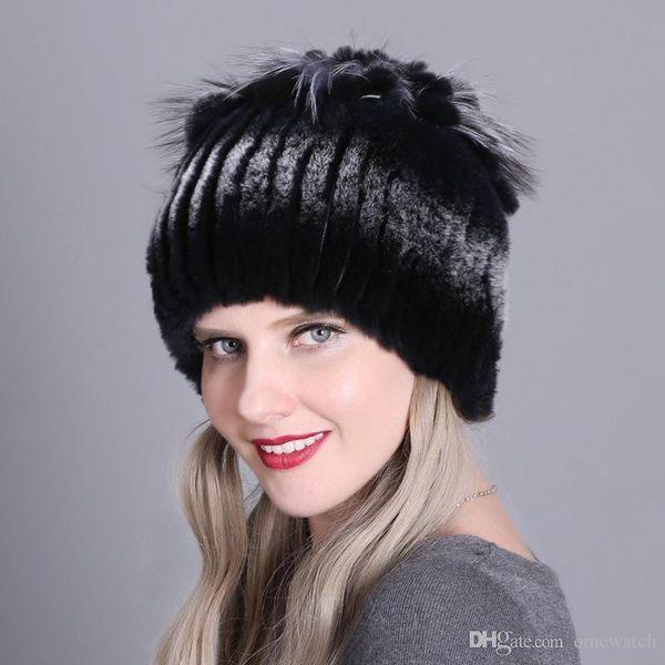 de lujo Beanie piel de conejo Rex de punto de las mujeres reales sombreros de piel Calentamiento las señoras calientes del acolchado y otoño invierno colorido de punto Sombreros
