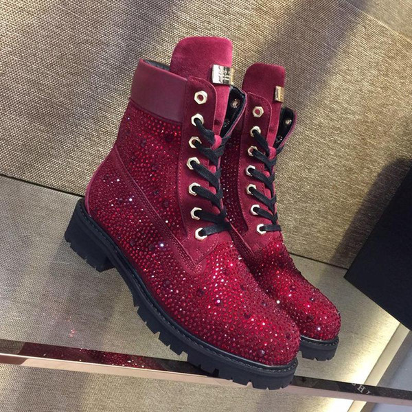 Warm Women Shoes Boots 2018 Winter Lace-Up Platform Snow Boots with Logo Origin Box Shiny Luxury Easy Wear Round Toe Ankle Boots Shoes