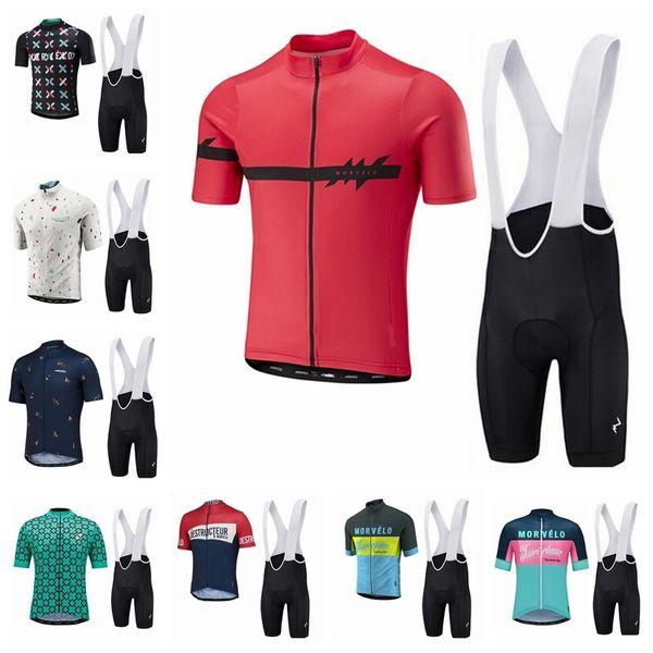 2019 Morvelo Männer Radtrikot Anzug Sommer Kurzarm Fahrrad Shirt Trägerhose Set Quick Dry Fahrradbekleidung MTB Bike Wear K040908