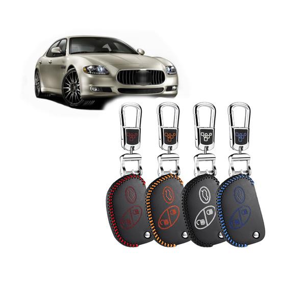 housse de protection de cas clé pour Quattroporte GranCabrio maserati 2012 2015 12 13 Granturismo maserati cuir véritable chaîne porte-clés de voiture
