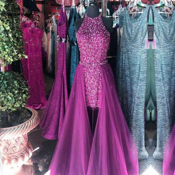 Sparkle Beaded Dubai High Low Prom Dresses With Ovderskirt Crystal Seuqined Long Prom Gowns Halter Abiye Vestido De Festa Longo