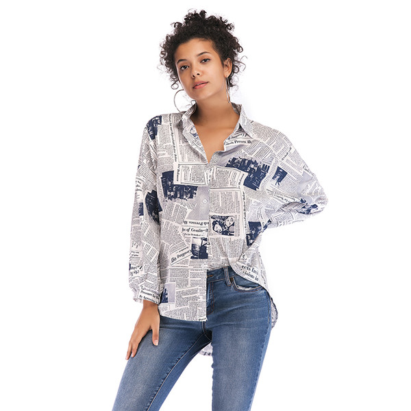 Moda jornal Retro Print Pattern Turn Down Button Up Collar Único Breasted mangas compridas Mulheres Cartas soltas Ocidental shirt Tops Blusa