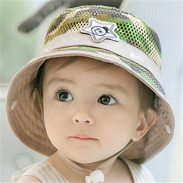 2019 Summer Autumn Warm Soft Cotton Baby Sun Hat Infant Boys Girls Bucket Hat Denim Cotton Toddler Kids Camouflage Cap Mesh Cap