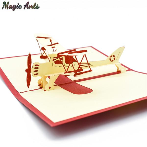 Flugzeug-Modell Pop-Up-Karte Geburtstag mit Umschlag Aufkleber Laser-Schnitt Einladung Karte Postkarte Flugzeug kreativem Geschenk