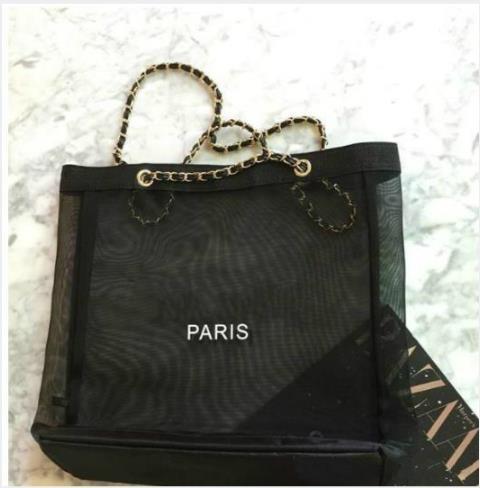 Hot sale! 2019 New Classic white logo shopping mesh chain Bag classic pattern Travel Bag Women Wash Bag Cosmetic Makeup Storagebag vip gift