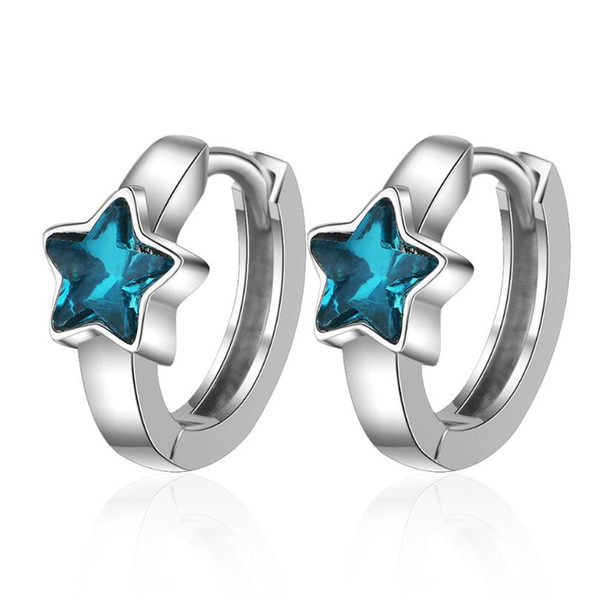 exquisite blue crystal star ear hook hoop earrings for women trend creative 925 sterling silver party gifts jewelry sae405