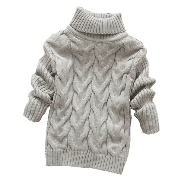 best selling pure color winter boy girl kid thick Knitted bottoming turtleneck shirts solid high collar pullover sweater