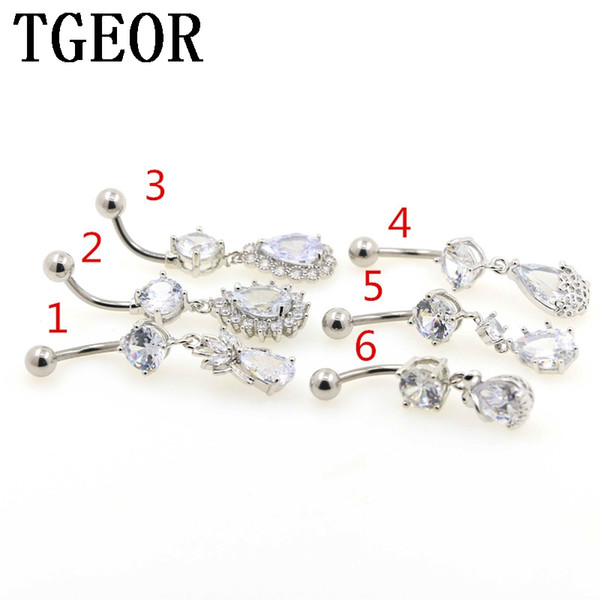 free shipping wholesale 16G 6pcs dangle water drop gem Cubic CZ Zircon charm Stainless Steel navel piercing belly button ring