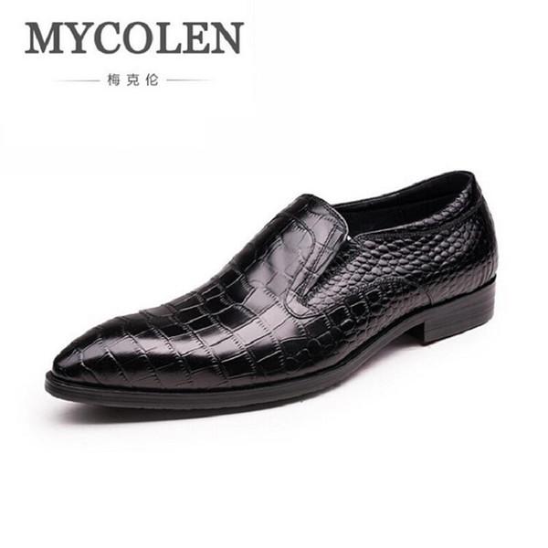 MYCOLEN Business Dress Men Shoes 2017 New Luxury Classic Men's Suits Shoes Slip On Black Man Flats Zapatos Hombre Vestir