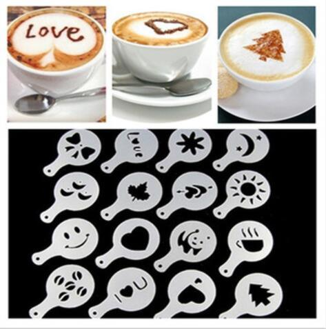 by dhl 200set 16pcs/set Mold Coffee Milk Cake Cupcake Stencil Template Coffee Barista Template Strew Pad Duster Spray Tools