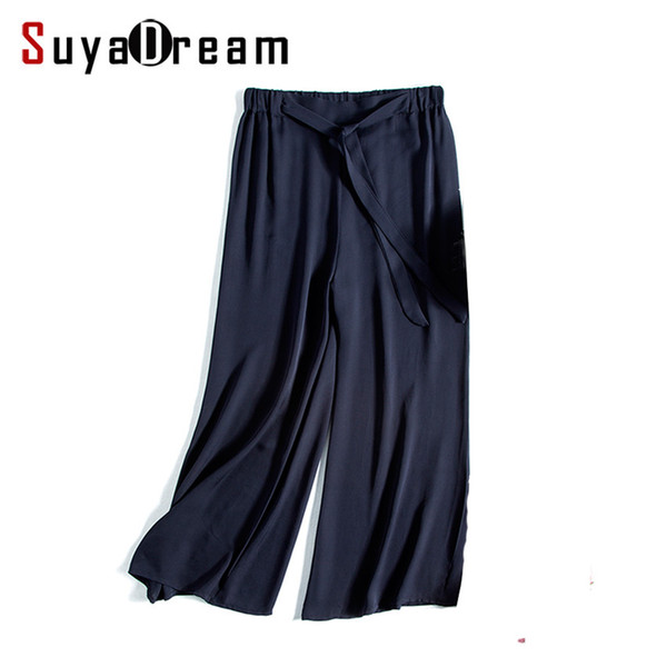 Women Wide Leg Pants 100% Real Silk Fashion Solid Navy Loose Pants Belted Elastic Waist Under Pants 2017 Fall Black Y19071701