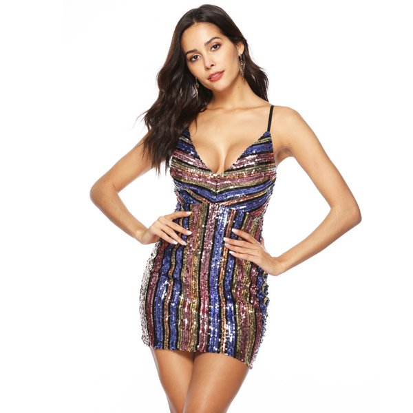 Sexy Ombre Striped Sequin Dress Deep V Neck Backless Strap Mini Bodycon Dress Women Slim Party Club Cami Dress with Appliques
