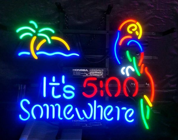"""Coconut Tree and Parrot 5:00 500 Neon Sign Light Real Glass Bulbs Tube Handcraft Beer Bar Shop Pub Store Club Garage Wall Decor 17*14"""""""