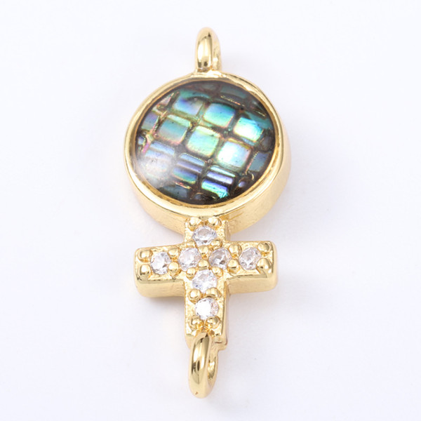 Singreal Abalone Shell Micro Pave Crosses Charms Bracelet necklace Choker Pendant connectors for women DIY Jewelry making