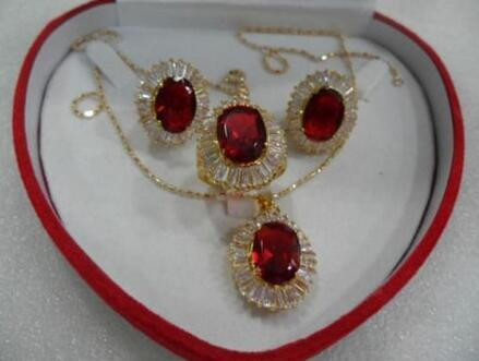 Nobility Jewellery necklace/pendant earring ring 6 7 8 9 # set Red Zircon stone sets 925 silver