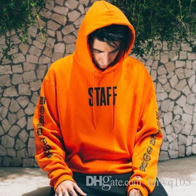 Justin Bieber Propósito Tour Staff Sudadera con capucha Moda Negro Naranja Sudaderas con capucha de gran tamaño Hombres Mujeres Invierno Algodón Sudadera Abrigo YYG0325