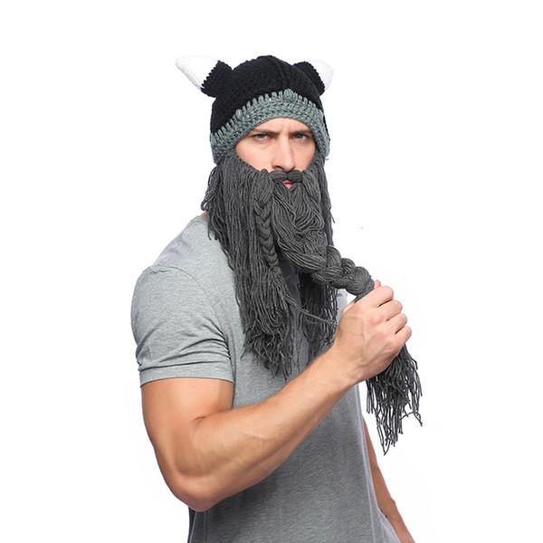 Men Winter Mustache Braid Beanie Halloween cosplay Hat Barbarian Vagabond Viking Beard Hat Horn Warm Wool Knitting Caps Mask LJJA2814