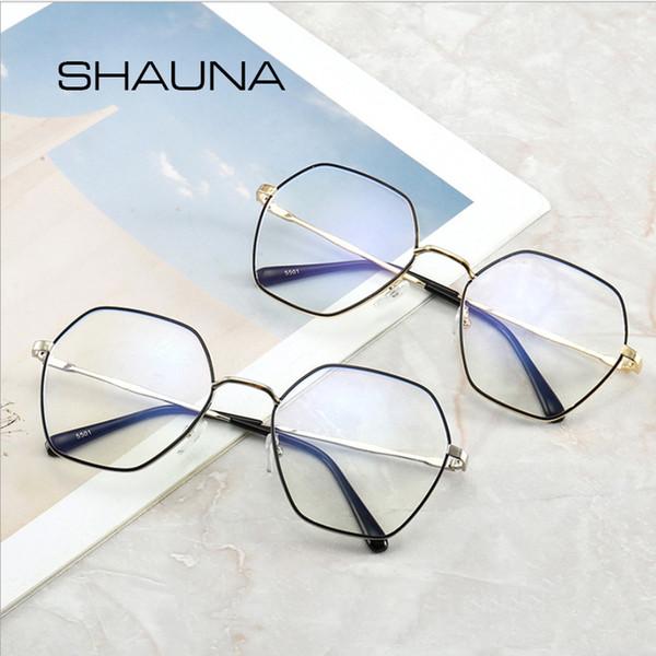 SHAUNA Anti Blue Ray Glasses Square For Women Myopia Computer Frame Prescription Eyeglasses Clear Lens Optical Glass Men
