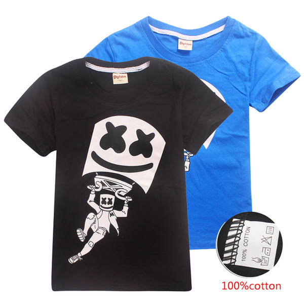 DJ Marshmello Mask Music T-shirt Kids Boys Casual Tee Tops Clothes 100/% Cotton