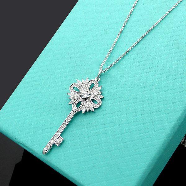 Yeni T mektup kar tanesi anahtar lüks kristal kolye kolye Gümüş kaplama lady uzun kazak zincir uzunluğu 71 cm