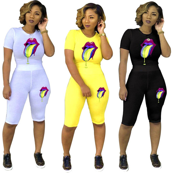women new summer o-neck short sleeve tongue painting tee top skinny knee length pants suit two piece set tracksuit yellow black white